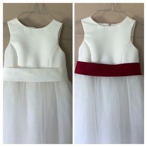 David's Bridal Satin Flower Girl Dress w/tulle